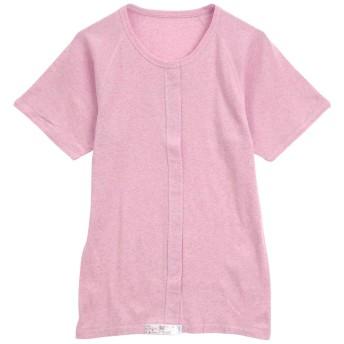 綿100% 前開き ワンタッチ肌着 半袖 Tシャツ インナー Uネック レディース 介護(PI-ピンク、S)