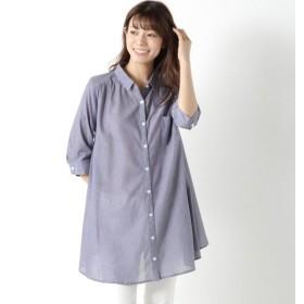 ワンピース チュニック レディース 柔らかな綿100%フランス綾素材の七分袖シャツチュニック 「ブルー」