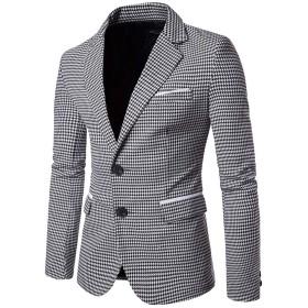 JOMISS 二つボタン礼服 ジャケット メンズ スーツ テーラードジャケット ビジネス 紳士 スリム 春 夏 秋 結婚式 カジュアル (XXL, ホワイト)