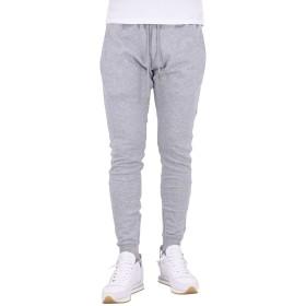[ウノピゥウノウグァーレトレ リラックス] RHINE STONE PANTS メンズ スウェット ジョガー パンツ フルレングス ラインストーン ロゴ 裾ジップ 無地 USB-917 L グレー/95