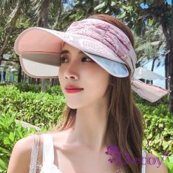 【Decoy】精選75折-花漾蕾絲*伸縮帽沿鏤空防曬遮陽帽/粉