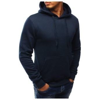 VITryst Men's Casual Solid Colored With Pocket Pullover Top Sweatshirt Navy Blue 2XL