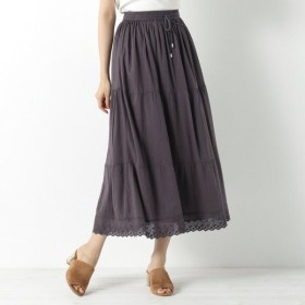 スカート レディース ロング コットンボイル素材の切替スカート 「スミクロ」