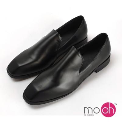 mo.oh 方頭粗跟套腳樂福鞋-黑色