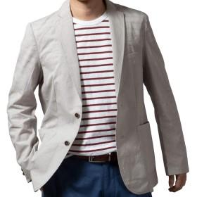 ジャケット メンズ サマージャケット 春夏 麻 麻混 綿 軽量 涼感 ブレザー カジュアル ゴルフ 旅行 トラベルジャケット シャツジャケット 319905 【6】グレー M