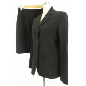 【中古】コムサ COMME CA スーツ セットアップ 3点セット テーラードジャケット ロングパンツ 膝丈スカート 黒 9
