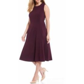 カルバンクライン レディース ワンピース トップス Plus Size Sleeveless A-Line Midi Dress Aubergine