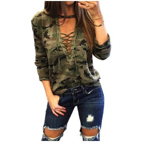 VITryst Womens Long Sleeve Camo Deep V-neck Lace up Tops Pullover T-Shirt M Green