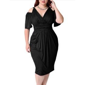 VITryst 女性のチュニック立体ストレッチエレガントなプラスサイズのフリルのドレス Black 4XL