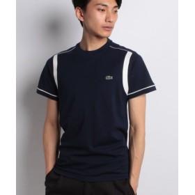 (LACOSTE/ラコステ)コントラストバンド スクエアニット クルーネックTシャツ (半袖)/メンズ ネイビー 送料無料