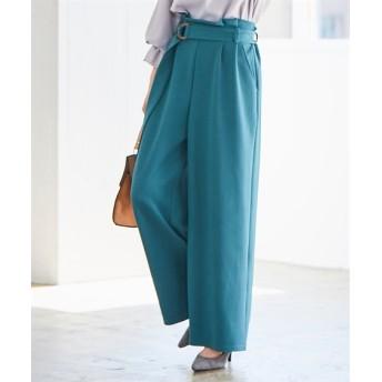 カットツイルDカンロングベルトワイドパンツ (レディースパンツ)Pants