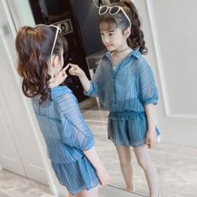 韓国子供服 女の子上下セット 入学式 発表会 夏3点セット Tシャツ スカート セットアップ 半袖 トップス キッズ  女の子  カジュアルパ