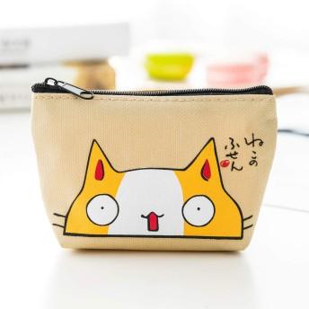 Loopy 小銭入れ コインケース レディース キーケース ポーチ 小さい猫柄 かわいい多用途 薄い財布 (色 : Beige)