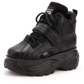 女性の靴、新しい秋と冬のスポーツの靴、高めの靴ハイトップ厚いカジュアルシューズの女性 (色 : B, サイズ : 37)
