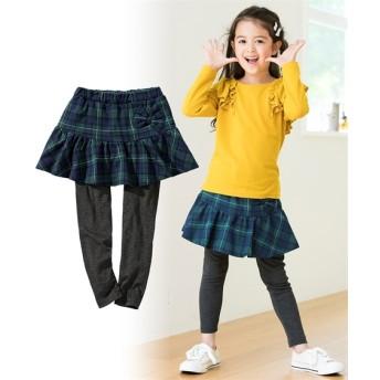 リボン付裏毛総柄スカッツ(女の子 子供服。ジュニア服) (スカート付パンツ)