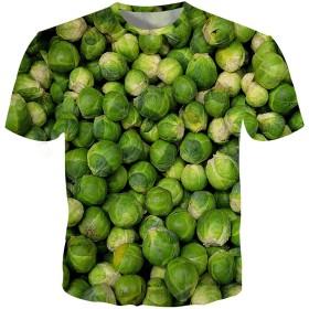 メンズ 半袖 Tシャツ おしゃれ 3Dプリント果物柄 おもしろい 野菜柄 カジュアル トップス ゆったり 男女兼用 個性的な 夏用服 大きなサイズ
