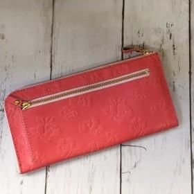 レザースリム長財布(L字ファスナー)*花柄型押しコーラルピンク