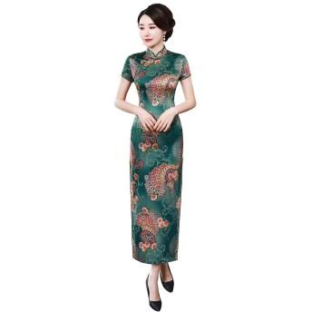 (上海物語) Shanghai Story 2019 チーパオ ロング丈 チャイナドレス 女性 民族衣装 ワンピース レディース チャイナ服 旗袍 半袖 チャイナ風 パーティードレス ステージ衣装 サイズ M C0200B