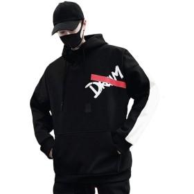 BeiBang(バイバン)パーカー メンズ 長袖トレーナー ゆったり プルオーバー フードパーカー ストリート系 原宿系通学 ファッション アウター(12黒)