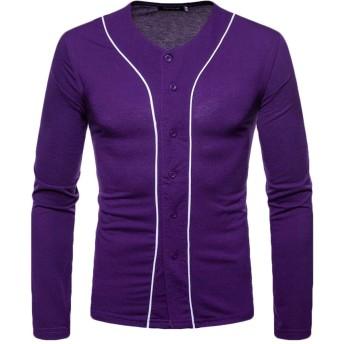 Keaac メンズボタンダウンカジュアルシャツロングスリーブドレスシャツスリムフィットファッショントップ Purple S