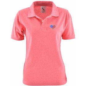 [X-CLOTHES] ポロシャツ 半袖 シャツ 花 ハート ビッグ ワンポイント 刺繍 グッズ 服 レディース ハート ピンク