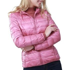 gawaga 女性暖かい軽量パッケージ可能な柔らかい柔らかいパフコート Pink XS