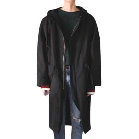 Tootess メンズカジュアルポケットフード付きトレンチコートアウトは、ウエストジャケットを受け入れる Black S