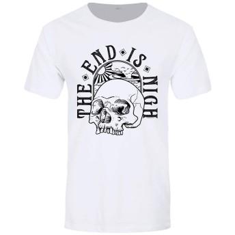 (グラインドストア) Grindstore オフィシャル商品 メンズ The End Is Nigh スカル プリント 半袖 Tシャツ (Medium) (ホワイト)
