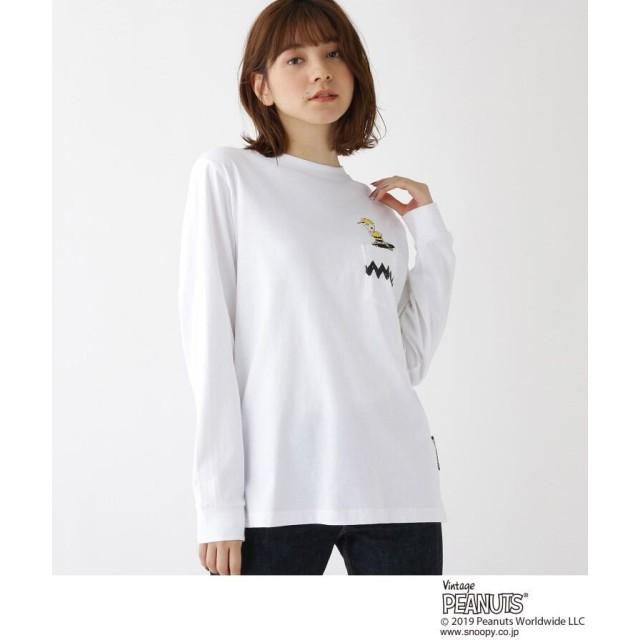PEANUTS × BASECONTROL別注 チャーリー・ブラウン 刺繍 長袖 Tシャツ
