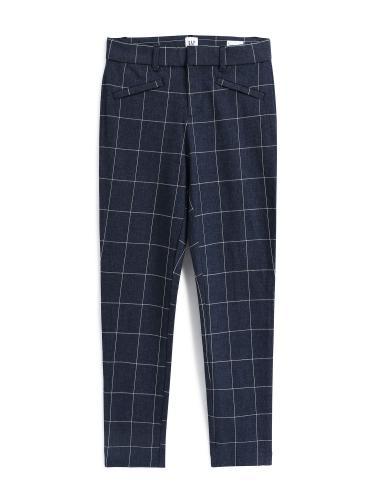 時尚藍底格子花呢休閒長褲