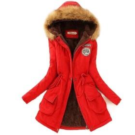 Beeatree 女性フードロングスリーブクラシックプラスサイズ厚くラップコート Red S