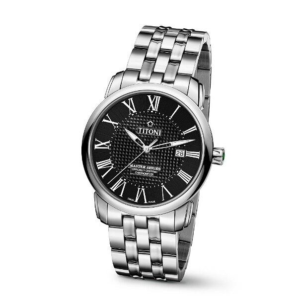 TITONI瑞士梅花錶大師系列83788S-315羅馬天文台認證機械腕錶/黑面41mm
