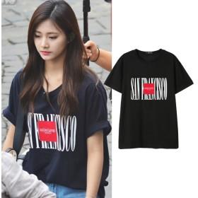 大人気! twice週辺 Tzuyu同じデザイン 半袖Tシャツ ペアルック 韓国ファッション tシャツ 男女兼用 トップス 韓国 Tシャツ