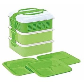 弁当箱 ピクニックケース リオパック 3段 取り皿3枚付き 約W202×D190×H200mm[116642](グリーン, 在庫)