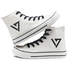 Fanstown KPOP 韓流 ロゴと特殊マーク ハイトップスニーカー スニーカー デッキシューズ 白靴 (SEVENTEEN)