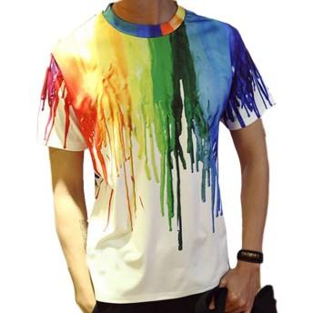 Linyuan ファッションの3D印刷 Men's Slim Short Sleeve Shirt Tops Casual Tee Tシャツ T Shirt