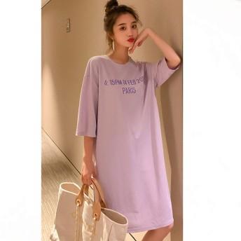 Found Shin レディース Tシャツ ワンピース ロング Tシャツ 半袖 ゆったり カジュアル 英字ロゴ 膝丈 (紫, M)