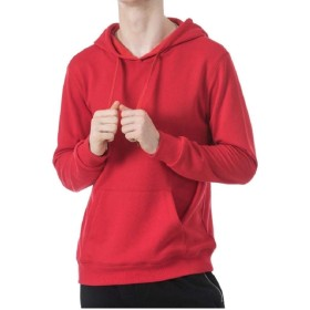 Tootess メンズレジャーバギーフードソリッドプルオーバースウェットシャツ Red XL