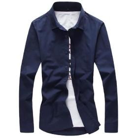 WE&energy メンズキャンディカラー中期ロングレジャープラスサイズボタンダウンシャツ Navy Blue M