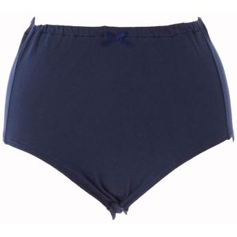 綿100% ショーツ 肌に優しい 生地 厚み UP ノンレース インゴム タイプ 深履き レディース 下着 日本製 綿 L ネイビー 通気性のよい 綿100 マルキ