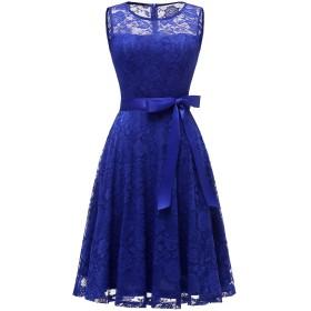 ドレッシースター レディース フレアーレースワンピース 結婚式 ドレス ひざ丈 ノースリーブ リボン付け お呼ばれ 二次会 ロイヤルブルー XXXLサイズ