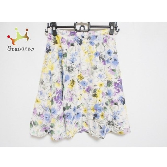 アプワイザーリッシェ スカート サイズ1 S レディース 美品 白×イエロー×マルチ 花柄 新着 20190801