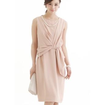 プールヴー パーティードレス ワンピース ドレス お呼ばれ 女子会 レディース ピンクベージュ Mサイズ 9号