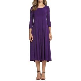 KXP 女性ロングスリーブスイングパーティーラウンドネックプラスサイズドレス Purple S