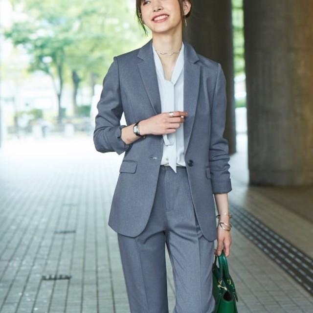 洗えてすごく伸びるウール調ロング丈ジャケットパンツスーツ【レディーススーツ】 (大きいサイズレディース)スーツ,women's suits ,plus size