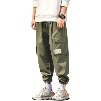 [MLboss]テーパードパンツ メンズ ゆったり ジョガーパンツ ポケット おしゃれ カーゴパンツ 大きいサイズ ストリート ロングパンツ カジュアル スポーツ ワイドパンツ 秋 春(Vグリーン)