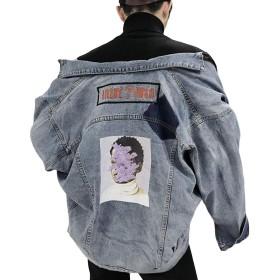 [BSCOOL]デニムジャケット メンズ ゆったり ジージャン プリント ストリート Gジャン ファッション カジュアル gジャン おしゃれ 襟付き 個性 アウター デニム 春 秋(Dブルー)