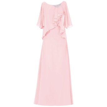 Dresstell(ドレステル) 結婚式 フォーマルドレス ドルマンスリーブ シフォン ビジュー付き ママのタイプ レディース ピンク 19W号