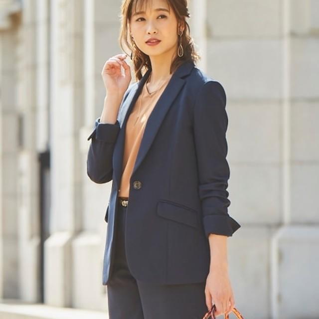 洗えるニットツイルロング丈テーラードジャケット(上下別売り)【レディーススーツ】 (大きいサイズレディース)スーツ,women's suits ,plus size
