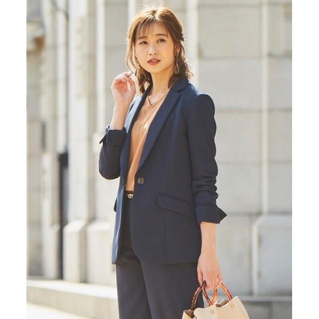 洗えるカットツイルロング丈テーラードジャケット(上下別売りスーツ) (大きいサイズレディース)スーツ,women's suits ,plus size